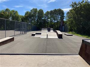 A view of the skate park on a sunny day